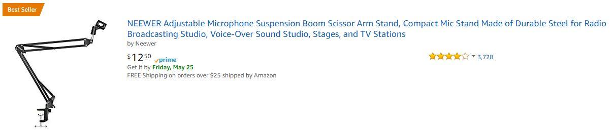 NEEWER Microphone Suspension Boom Scissor Arm Stand