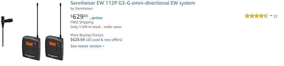 Sennheiser EW 112P G3-B Omni-Directional EW System Wireless Microphone